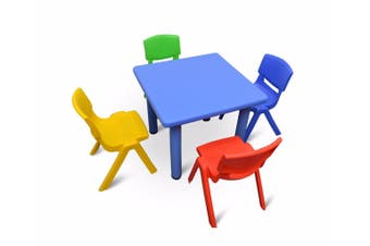 60x60cm Square Blue Kid's Table and 4 Mixed Chairs