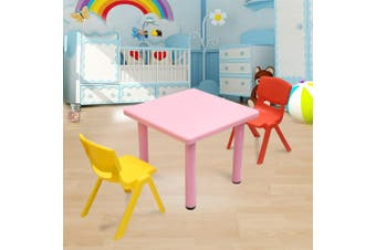 60x60cm Kid's Adjustable Square Pink Table & 2 Mixed Chairs Set