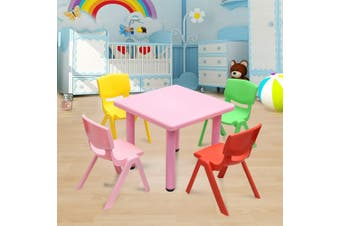 60x60cm Kid's Adjustable Square Pink Table & 4 Mixed Chairs Set