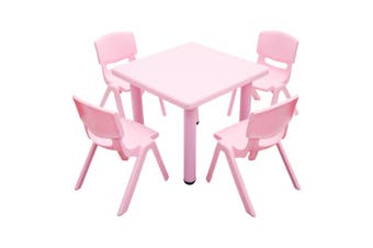 60x60cm Kid's Adjustable Square Pink Table & 4 Pink Chairs Set