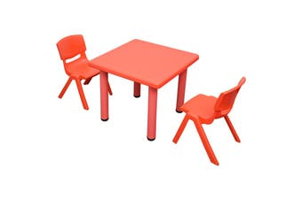 60x60cm Square Red Kid's Table and 2 Red Chairs