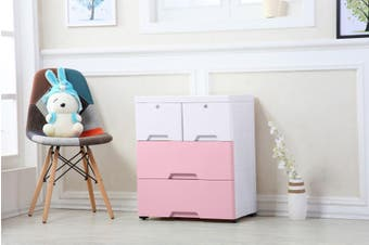 3 Tier Tallboy Dresser Chest of Drawers with Wheels Big Storage Space Pink White