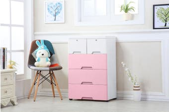 4 Tier Tallboy Dresser Chest of Drawers with Wheels Big Storage Space Pink White
