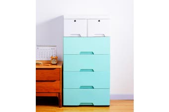 5 Tier Tallboy Dresser Chest of Drawers with Wheels Big Storage Space Blue White