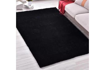 New Modern Designer Anti-slip Shaggy Shag Floor Rug Carpet Black 200x140cm