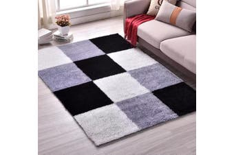 Modern Designer Shaggy Shag Floor Rug Carpet Black White Grey Cube Pattern 200x140cm