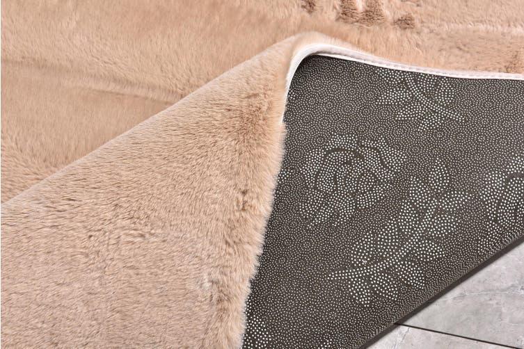 New Designer Fluffy Shaggy Floor Rug Carpet Camel Brown 300x200cm