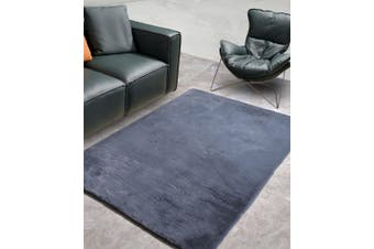 New Designer Fluffy Shaggy Floor Rug Carpet Dark Grey 300x200cm