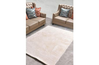 New Designer Fluffy Shaggy Floor Rug Carpet Cream White Beige 300x200cm