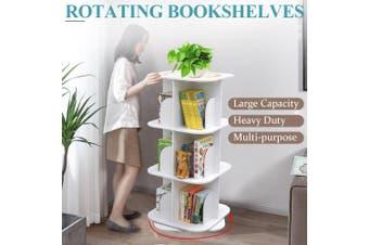 3 Tiers Versatile Square Wooden Rotating Swivel Bookshelf Bookcase Cabinet White 97CM