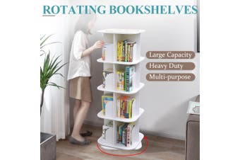 4 Tiers Versatile Square Wooden Rotating Swivel Bookshelf Bookcase Cabinet White 128CM