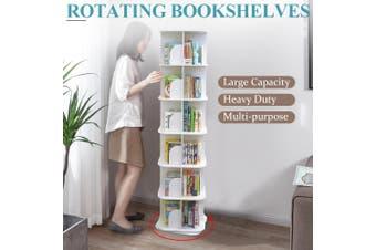 6 Tiers Versatile Square Wooden Rotating Swivel Bookshelf Bookcase Cabinet White 190CM
