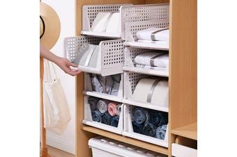 3x Foldable Stackable Slidable Multi Purpose Plastic Storage Drawer Box L