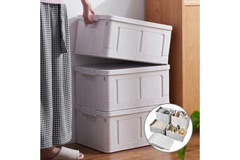 3x Foldable Stackable Multi-functional Plastic Book Storage Container Tub with Lid