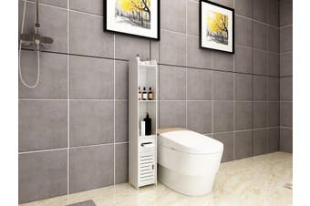 120CM Bathroom Toilet Utility Cabinet Vanity Storage Shelves White