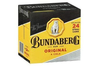 Bundaberg Rum and Cola Cans 375ml Cube x 24