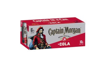 Captain Morgan Original Spiced Rum & Cola Cans 375ml - 10 pack
