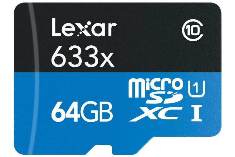 Lexar 64GB 633x 95MB/s Class 10 MicroSD memory card with SD Card Adapter