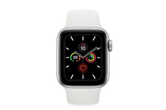 Apple Watch Series 5 (GPS) 40mm Silver Aluminum Case White Sport Band MWV62