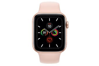 Apple Watch Series 5 (GPS) 44mm Gold Aluminum Case Pink Sport Band MWVE2