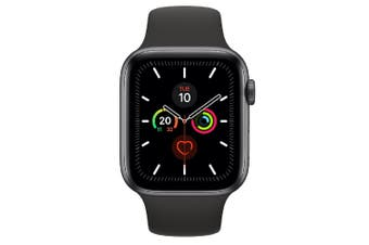 Apple Watch Series 5 (GPS) 44mm Gray Aluminum Case Black Sport Band MWVF2