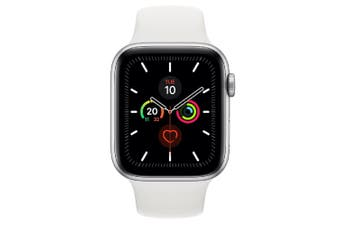 Apple Watch Series 5 (GPS+Cellular) 44mm Silver Aluminum Case White Sport Band