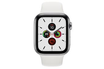 Apple Watch Series 5 (GPS+Cellular) 44mm Stainless Steel Case White Sport Band