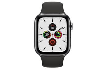 Apple Watch Series 5 (GPS+Cellular) 44mm Space Black Steel Case Black Sport Band