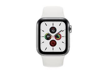 Apple Watch Series 5 (GPS+Cellular) 40mm Stainless Steel Case White Sport Band