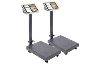 SOGA 2X 300kg Electronic Digital Platform Scale Computing Shop Postal Weight Black