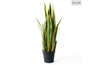 SOGA 95cm Artificial Indoor Yellow Edge Tiger Piran Fake Decoration Tree Flower Pot Plant