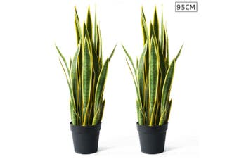 SOGA 2X 95cm Artificial Indoor Yellow Edge Tiger Piran Fake Decoration Tree Flower Pot Plant