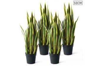 SOGA 4X 50cm Artificial Indoor Yellow Edge Tiger Piran Fake Decoration Tree Flower Pot Plant