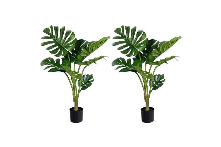 SOGA 2X 120cm Artificial Green Indoor Turtle Back Fake Decoration Tree Flower Pot Plant