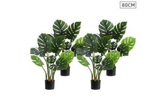 SOGA 4X 80cm Artificial Indoor Potted Turtle Back Fake Decoration Tree Flower Pot Plant