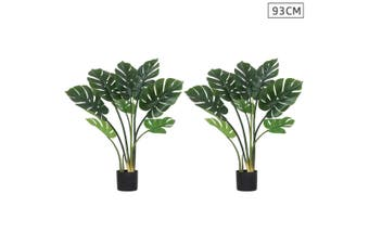 SOGA 2X 93cm Artificial Indoor Potted Turtle Back Fake Decoration Tree Flower Pot Plant