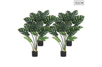 SOGA 4X 93cm Artificial Indoor Potted Turtle Back Fake Decoration Tree Flower Pot Plant