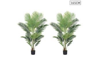 SOGA 2X 165cm Artificial Swallowtail Sunflower Fake Decoration Tree Flower Pot Plant