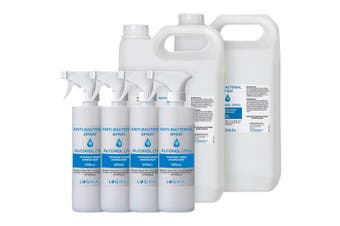 2X 5L and 4X 500ML Standard Grade Disinfectant Anti-Bacterial Alcohol Spray Bottle Refill Kit
