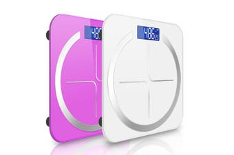 SOGA 2X 180kg Digital Fitness Weight Bathroom Body Glass LCD Electronic Scales White/Pink