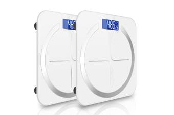 SOGA 2X 180kg Digital Fitness Weight Bathroom Body Glass LCD Electronic Scales White