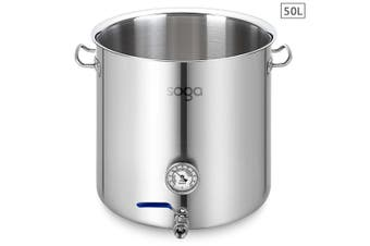 SOGA Stainless Steel 50L No Lid Brewery Pot With Beer Valve 40*40cm