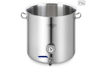 SOGA Stainless Steel 71L No Lid Brewery Pot With Beer Valve 45*45cm
