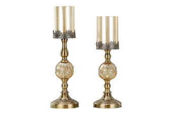 SOGA 42cm 48cm Glass Candle Holder Candle Stand Glass Metal with Candle Set
