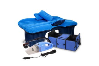 SOGA Portable Camping Car Set Inflatable Air Bed Mattress Storage Organizer Handheld Vacuum Blue