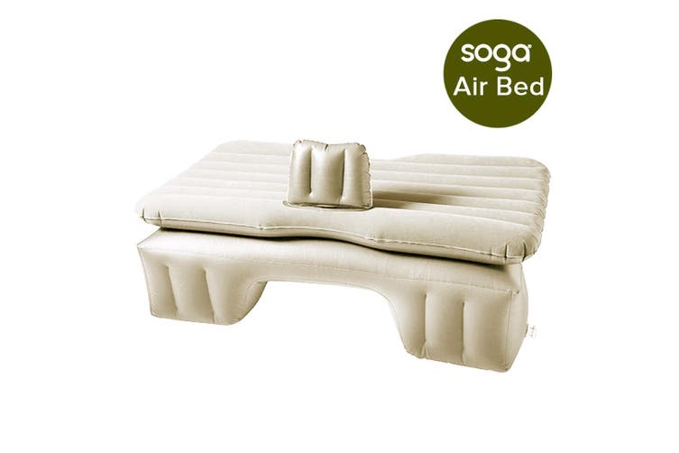 SOGA Inflatable Car Mattress Portable Travel Camping Air Bed Rest Sleeping Bed Beige