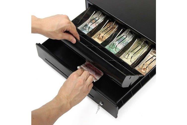 SOGA 2X Black Heavy Duty Cash Drawer Electronic 4 Bills 8 Coins Cheque Slot Tray Pos 350