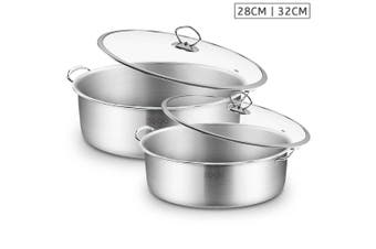 SOGA Stainless Steel 28cm 32cm Casserole With Lid Induction Cookware