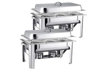 SOGA 2X 9L Stainless Steel 3 Pans Bain-marie Chafing Catering Dish Buffet Food Warmer