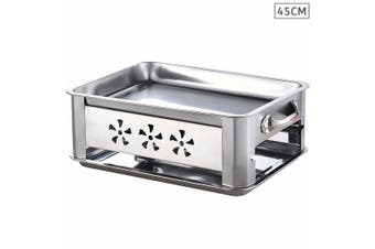 45cm Portable Stainless Steel Outdoor Chafing Dish BBQ Fish Stove Grill Plate